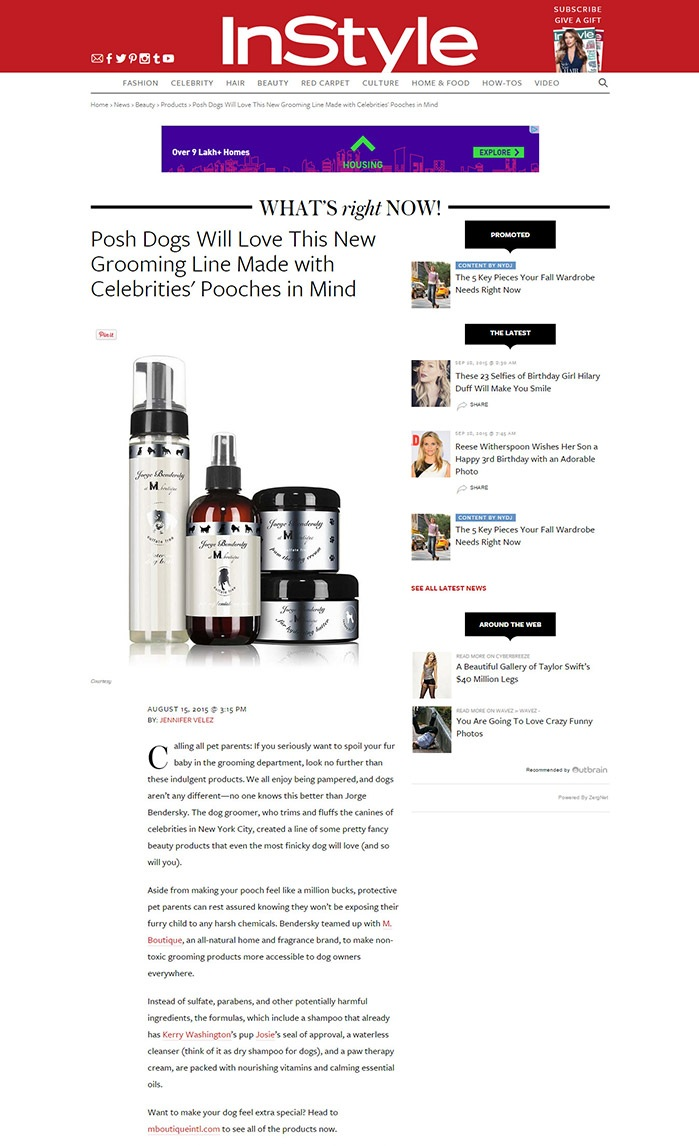 InStyle - Posh Dogs Will Love - M Boutique International